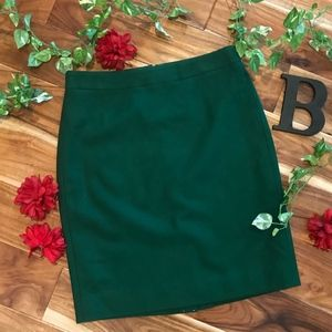 J. Crew The Pencil Skirt size 6 Dark Green Wool